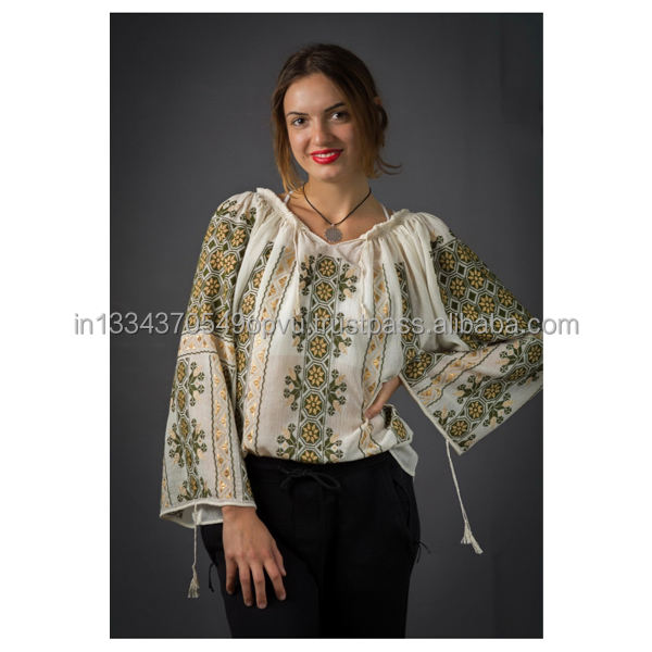 2020 Exclusive Collection Cross Stitch Sophisticate Embroidered Romanian Blouses Cotton Gauze Gorgeous Summer Clothing Lady Top