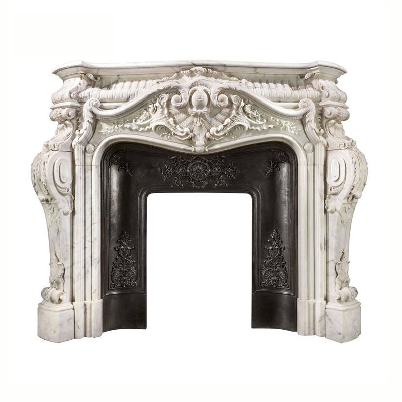 Indoor Home Decoration Use Hand-carved Stone Fireplace French style indoor antique marble fireplace mantel for sale