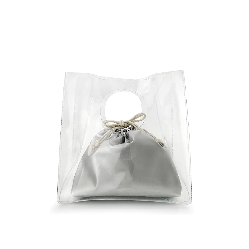 Custom Stylish Transparent PVC Tote Bag Clutch Protector Shopping Bag Handbag Dust Protectors