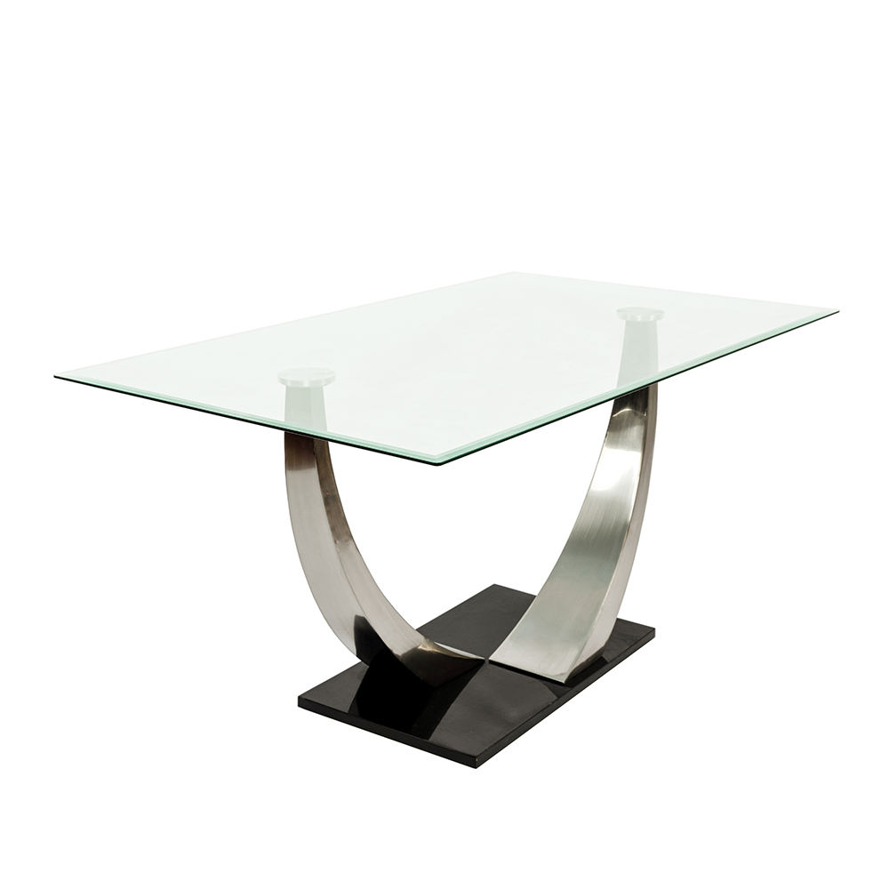 Modern High End Designs Home Dining Room Furniture Gloss Tempered Glass Top Iron Frame Rectangle Dining Tables
