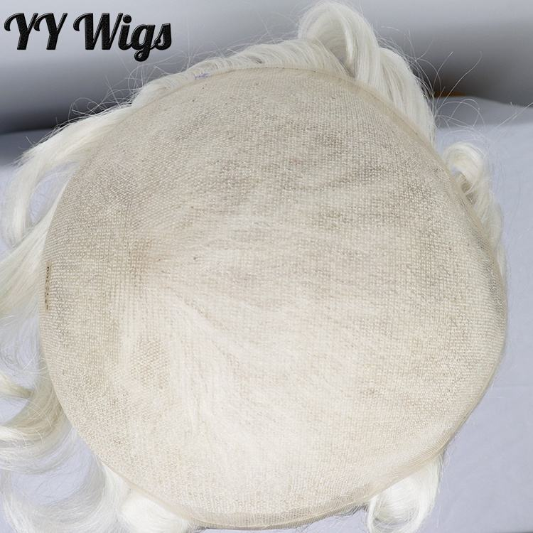 High Quality White Blonde Replacement System 60 French Lace Human Hair Toupee