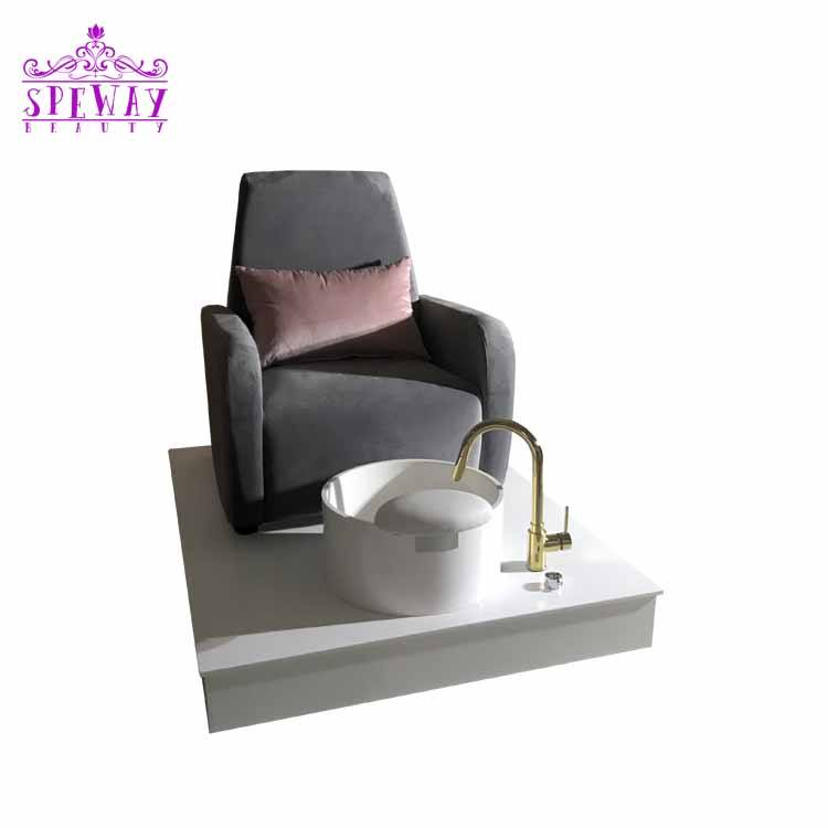2020 light grey used tufted pedicure foot spa massage chairs with pedicure sinks