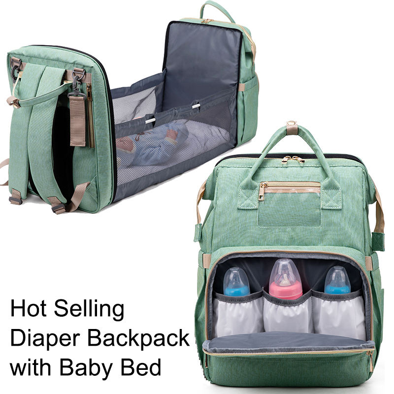 Portable diaper backpack organizer sac a langer wickeltasche nappy mummy nurse mom baby diaper bag with sleeping bed