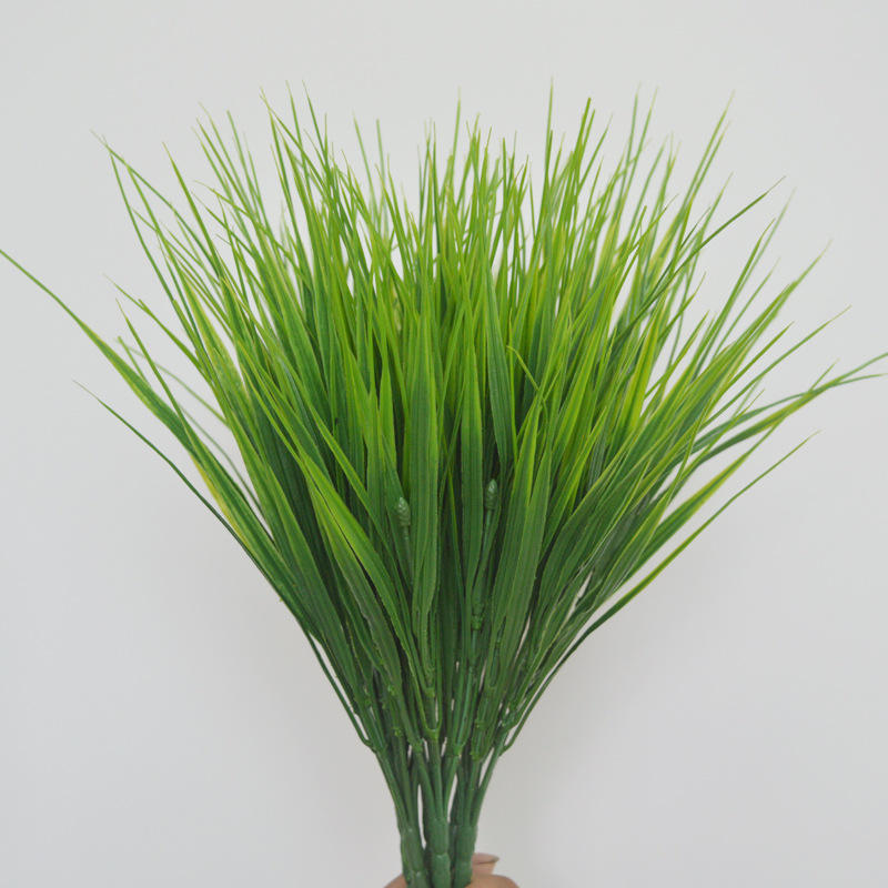 A-1028 Home Garden Outdoor Landscaping Decor Fake Green Bushes Plants Faux Plastic Wheat Grass Artificial Shrubs Plant Grass