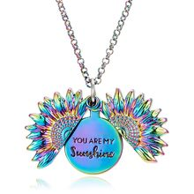 Personalized Latest Lover Gift Mix Colour You Are My Sunshine Open Sunflower Locket Pendant Necklace Jewelry For Women
