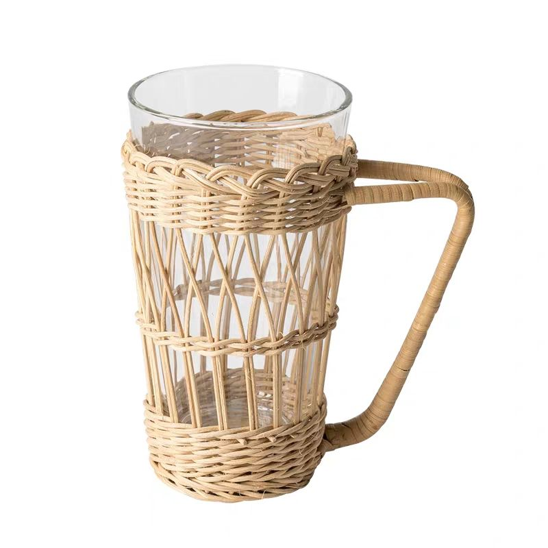 Willow Drinks baskets Glass Divider Basket wicker rattan bottle carrier basket with handle
