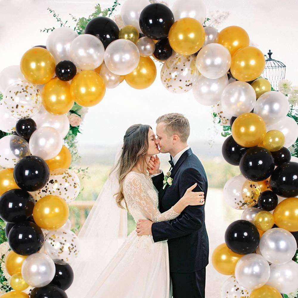 Wedding Birthday Party Decoration White Gold Black Balloon Garland Kit Balloon Arch Garland Sets
