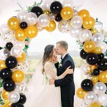 150pcs Wedding Birthday Party Decoration White Gold Black Balloon Garland Kit Balloon Arch Garland Sets