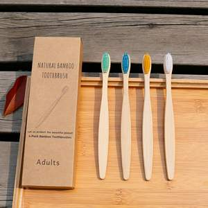 100% Natural Charcoad Toothbrush with Soft Nylon Bristles Bamboo Toothbrush
