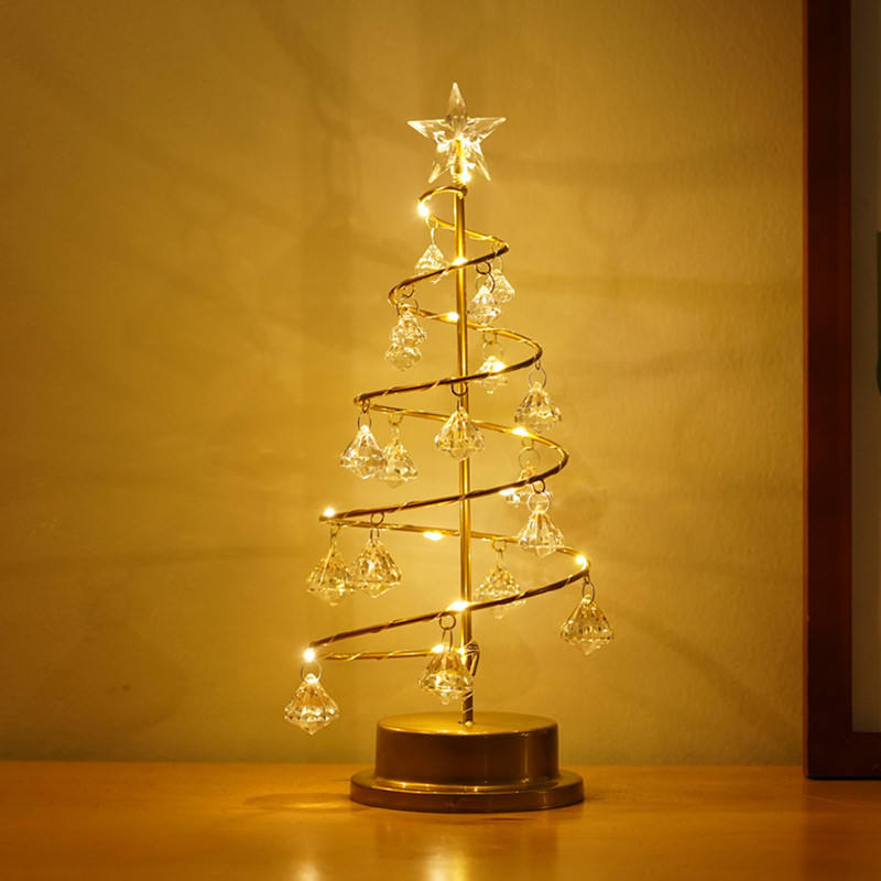 Room Home Table Lamp Gift Star Crystal Ornaments Led Night Light,Christmas Tree Decoration Lights