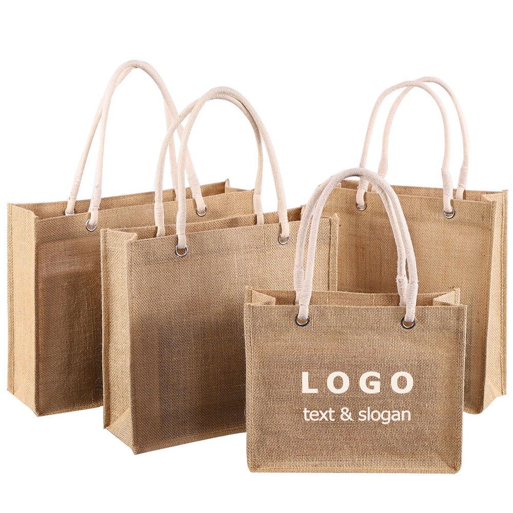 Wholesale Logo Design Cheap Promotion Gift Beach Bag Portable Eco Friendly Reusable Burlap Jute Tote Bag Blank Shopping bag