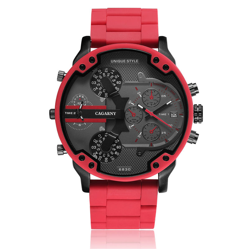 Luxury Cagarny Quartz Watch For Men Cool Big Case Red Silicone Steel Band Sports Wristwatch Man Military Relogio Masculino 6830