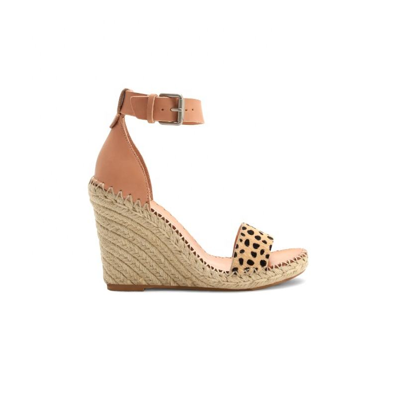 Fashion jute sole new design wedge lady shoe sexy sandals