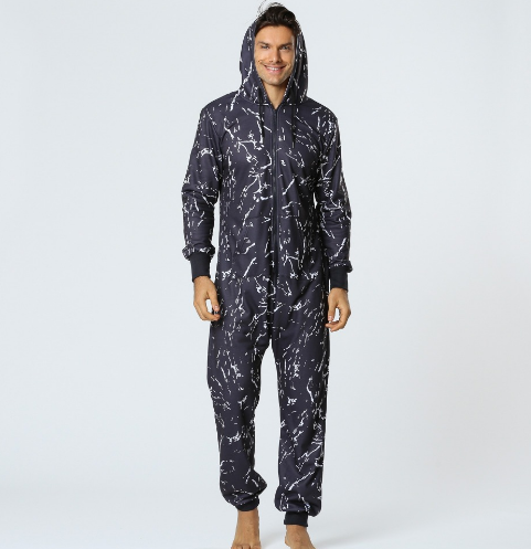 Online wholesale men printing french terry casual sporty jumpsuit tracksuit onesie pajama adult