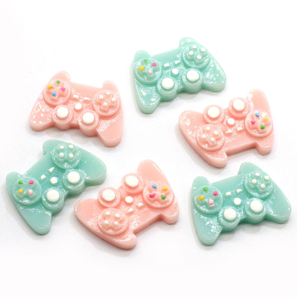 100pcs Cute Resin Game Controller Flatback Mini Game Consoles Handle Cabs Slime Accessories DIY Craft Decor Hair Bows Center