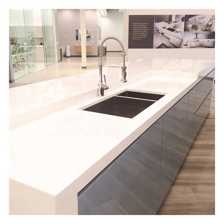 Pure White Epoxy Resin White Quartz Stone Encimera de Cocina Kitchen Countertops with Built In Sink