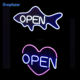 Manufacturer custom easy use colorful neon sign waterproof led open sign for shop