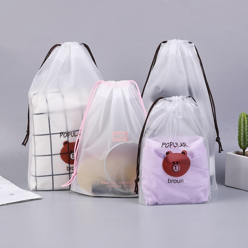Clothing Storage Drawstring Bag for Outdoors Travel Waterproof Frosted Clear Shoes Storage Bag zip lock Pouch organizer