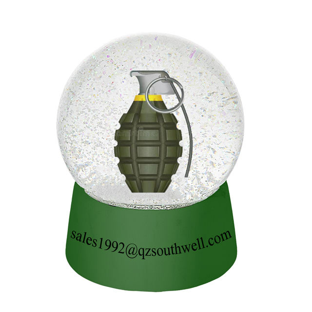 Custom 3D Art Craft Hand Grenade snow globe