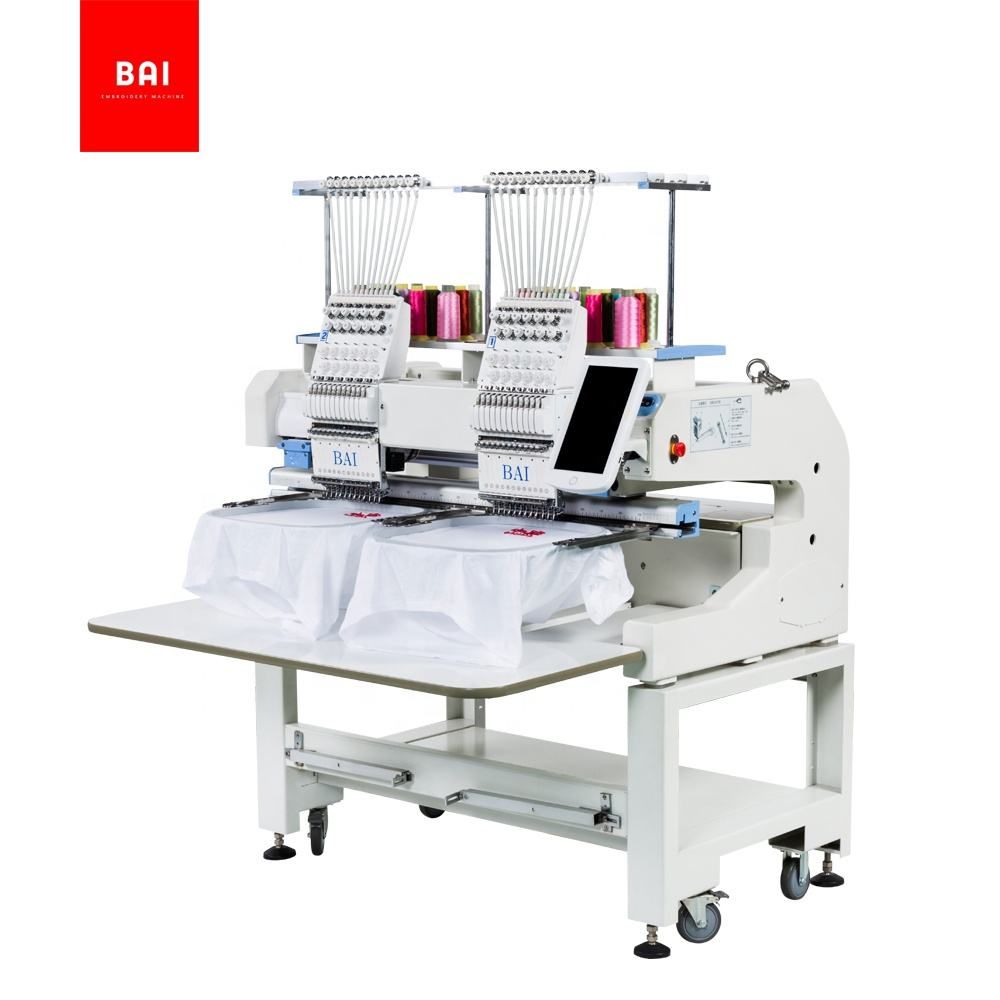 BAI industrial two head 12 needles 3d embroidery machine for hat t-shirt