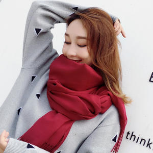150G Imitation cashmere thickened ladies scarf all-match solid color dual-use big shawl woolen pure color scarf with tassel