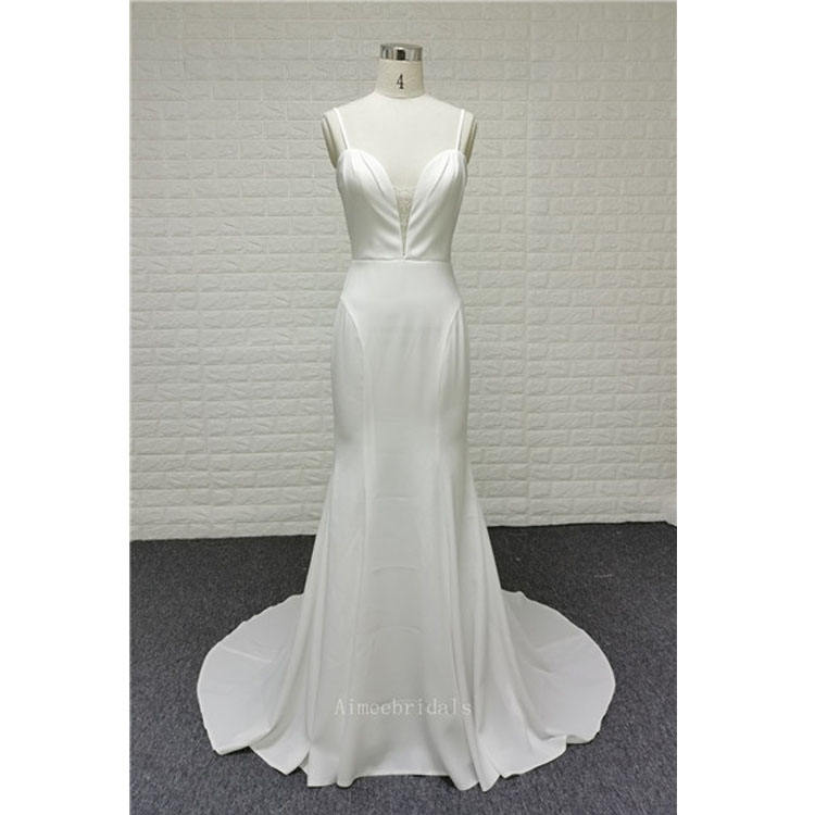 white sexy back simple mermaid satin gown beach wedding dresses bridal