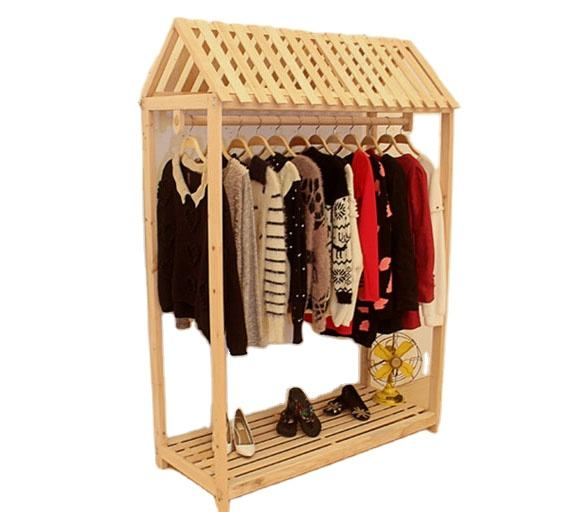 Classical wooden display clothes rack hot sale standing cloth display stand