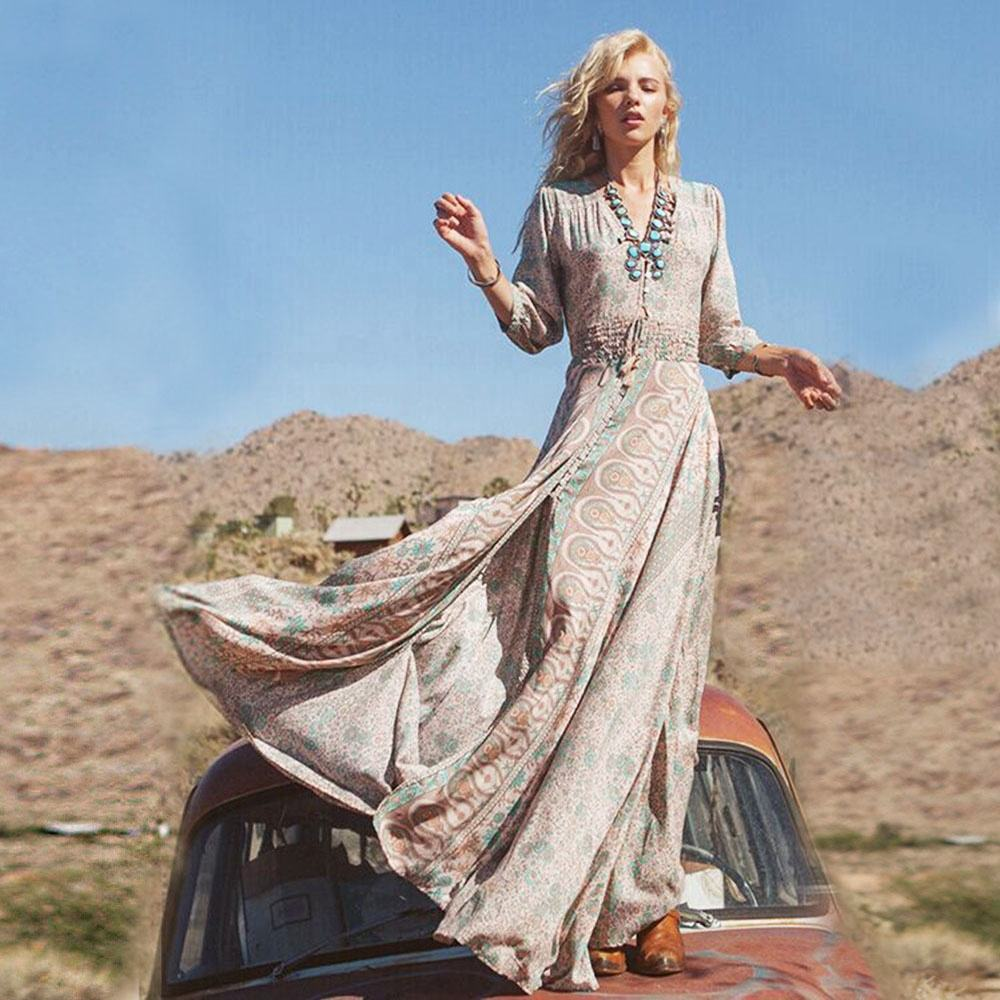 women long beach dresses bohemian style for summer and seaside