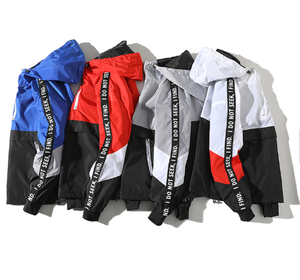 Winter Windbreaker Jacket Men Custom Letter Printing Quarter Zipper Hooded Varsity Jacket