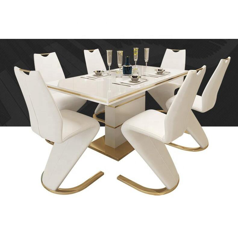 Gold luxury dining table set dining room furniture 6 chairs