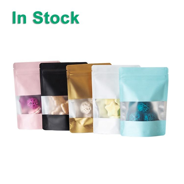 Matte Color Reclosable Ziplock Aluminum Foil Doypack Mylar Stand Up Food Storage Packaging Pouch Bags With Clear Window