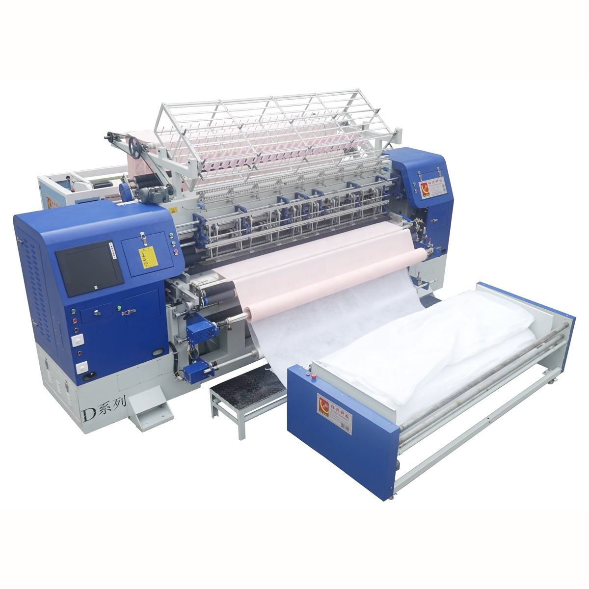1200rpm NewestComputer Shuttle Multi needle Quilting Machine Production Line with Cutting for Bed Cover