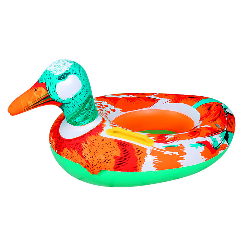 Hot Selling Red-Green Mandarin Duck Shape Inflatable Floating Swimming Baby Seat Ring