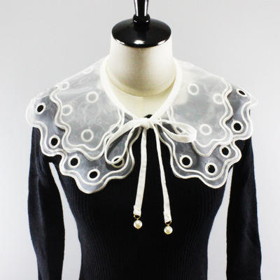 Fashion Hollow out Detachable Shirt Collar with Rhinestone for Garment Accessories