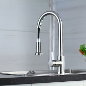 Wholesale 304 Stainless steel Nickle Plated Pull Down Kitchen Tap Faucet