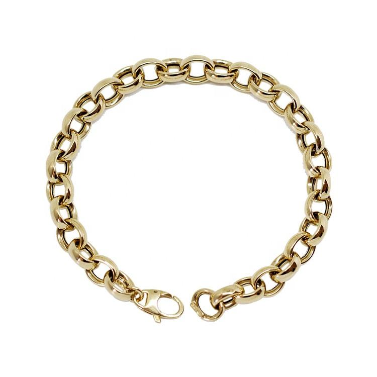 Firstmadam Retro 14K Gold Oval Couple Bracelet Men Women Fashion Simple Bracelets