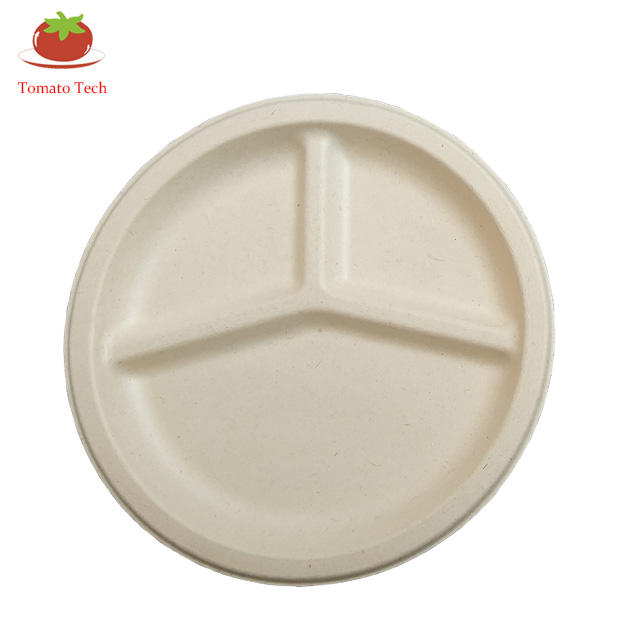 Disposable biodegradable 9-inch 3-panel plate