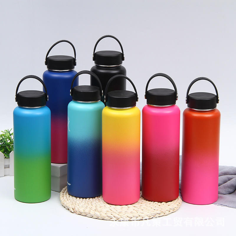 Amazon top seller 2021 32oz Stainless Steel Water Bottle Flask Vacuum Insulated Wide Thermal straw