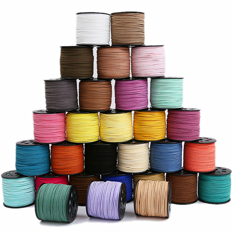 Korea 3mm Flat Leather Cord 100 Yards Wholesale Jewelry Making Bracelet Materials Faux Suede Cord