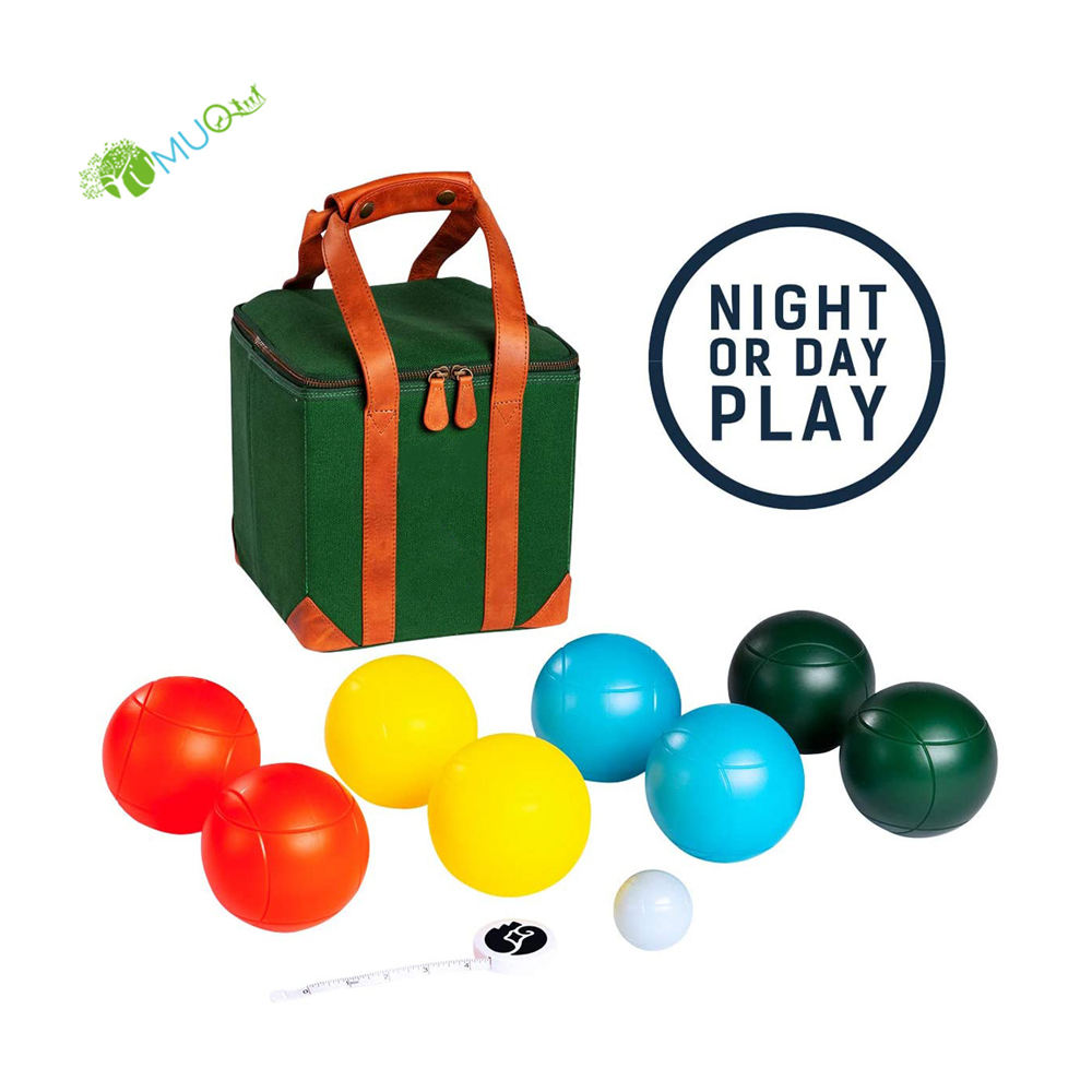 YumuQ 8 Pack Lighted PVC Bocce Ball Games Set, 100MM Petanque Boules Set for Outdoor Glow In The Dark, Lawn and Garden Games