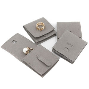 Customized eco friendly mini packing bag ring earring bracelet cloth suede leather jewelry pouches with logo