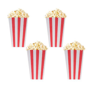 Eco friendly food grade level paper striped popcorn boxes for movie theater