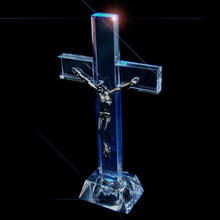 Jesus Christ Led light up glass standing cross MH-15045