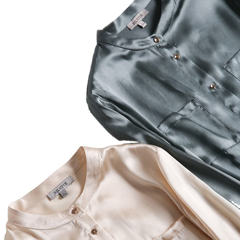 High Quality Light Casual Button Up Latern Sleeve Raw Women Silk Shirt