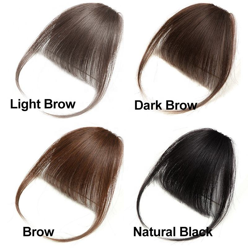 Fashion Ladies Hair Thin Neat Air Bangs Clip Hair On The Temples Fringe Front Hairpiece For Women