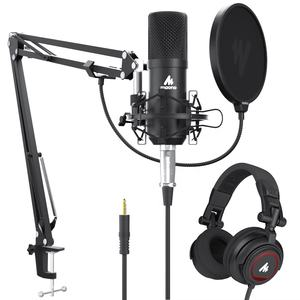 Professional Studio Condenser Microphone With Monitor Headset for Computer Mobile Phone Tablet or Sound Card With Microphone Kit