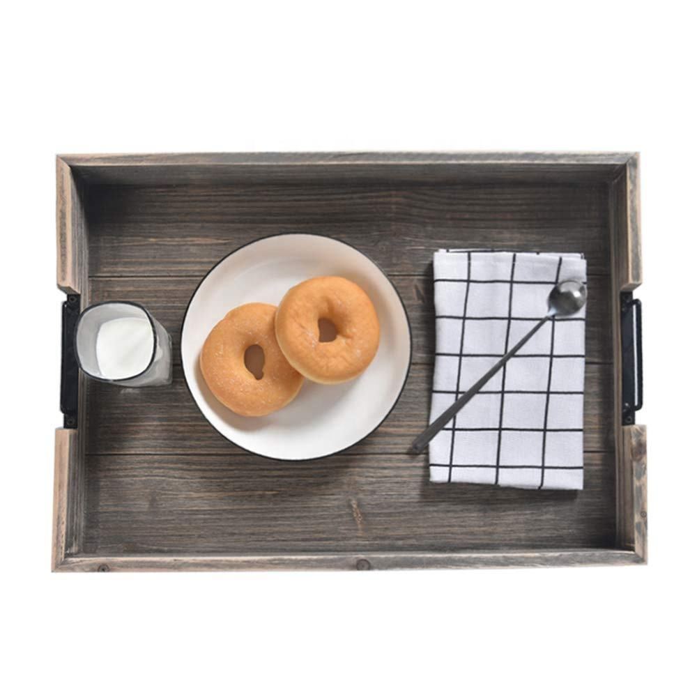 IBEI wooden product storage box pallets retro style food tray, suitable for bedroom living room kitchen, more neat and portable
