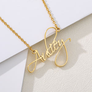 Customised 필기체 letters 첫 글자 name 펜 던 트 necklace women girls 패션 gift silver plated