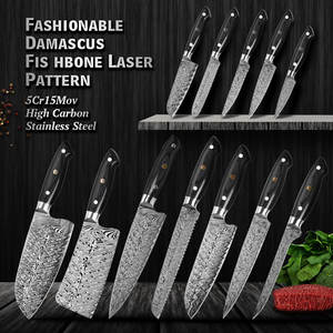 Professional OEM Kitchen Knife Production 8Inch Damascus Fishbone Pattern Laser knives sharpener