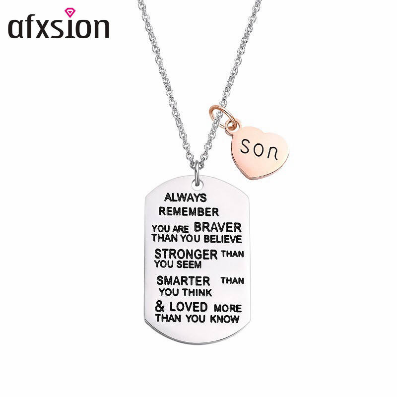 AFXSION wholesale 316L Stainless steel engraving inspirational dog tags military necklace pendant for son jewelry